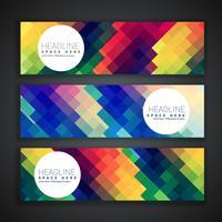geweldige set van drie banners in kleurrijke abstracte vormen