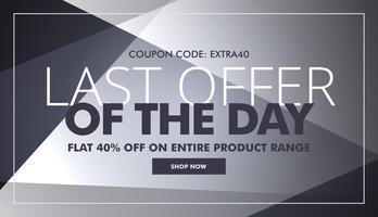banner cinza de venda e desconto com a última oferta do dia texto