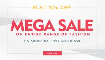 mega sale banner template in white and red colors
