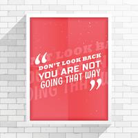 """minimale rode folder met boodschap """"niet terugkijken, je bent niet van plan"""