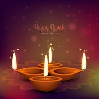 diwali diya place on colorful background vector design