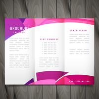 wave style trifold vector brochure design