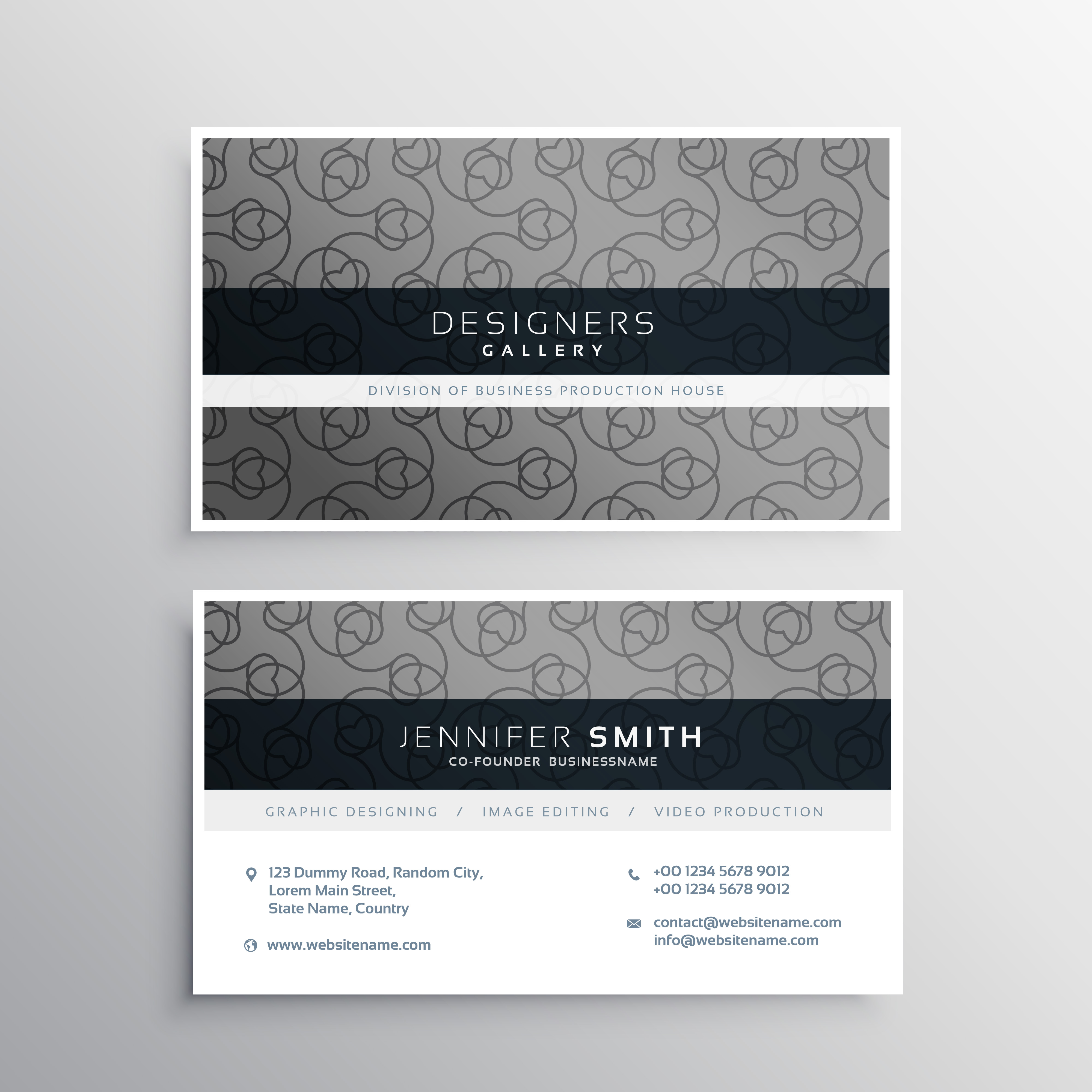 elegant gray business card design with pattern - Download Free ...