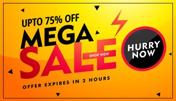 mega sale offer and discount banner design in bright yellow colo
