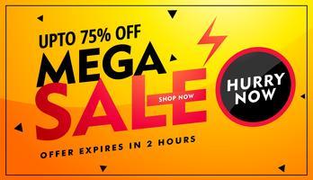Mega Sale Angebot und Rabatt Banner Design in leuchtend gelben Colo