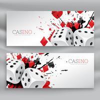 Satz von Casino-Banner mit Würfeln und abstrakter Tinte spritzen