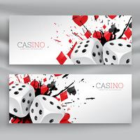 set of casino banners with dices and abstract ink splash
