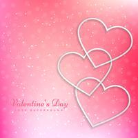 Corazón de San Valentín en el hermoso fondo rosa vector diseño illu