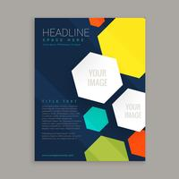 business brochure design with colorful hexagonal shapes
