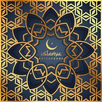 golden pattern background with islamic shape