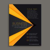 mörk broschyrdesign med gul rand