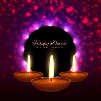 beautiful happy diwali indian festival greeting card design vect