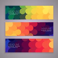 abstract style banners set with colorful circles