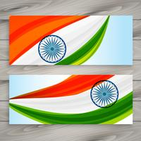 bannières drapeau indien set vector illustration illustration