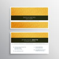 clean yellow business card design with elegant pattern
