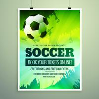 design moderno flyer sportivo con il calcio in tema verde