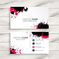 ink splash business card. Business vector design illustration