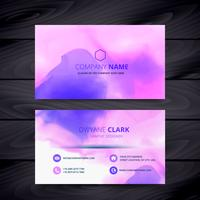 colorful watercolor ink style business card template design