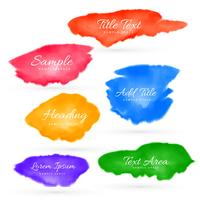 colorful set of watercolor stain collection vector