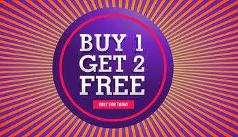 verkoopbanner van een kopen krijgt twee gratis aanbiedingen