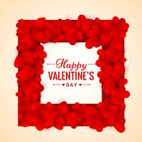 Ilustración de diseño de vector de marco de día de San Valentín de corazones rojos