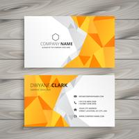 abstract polygonal yellow business card template vector design i