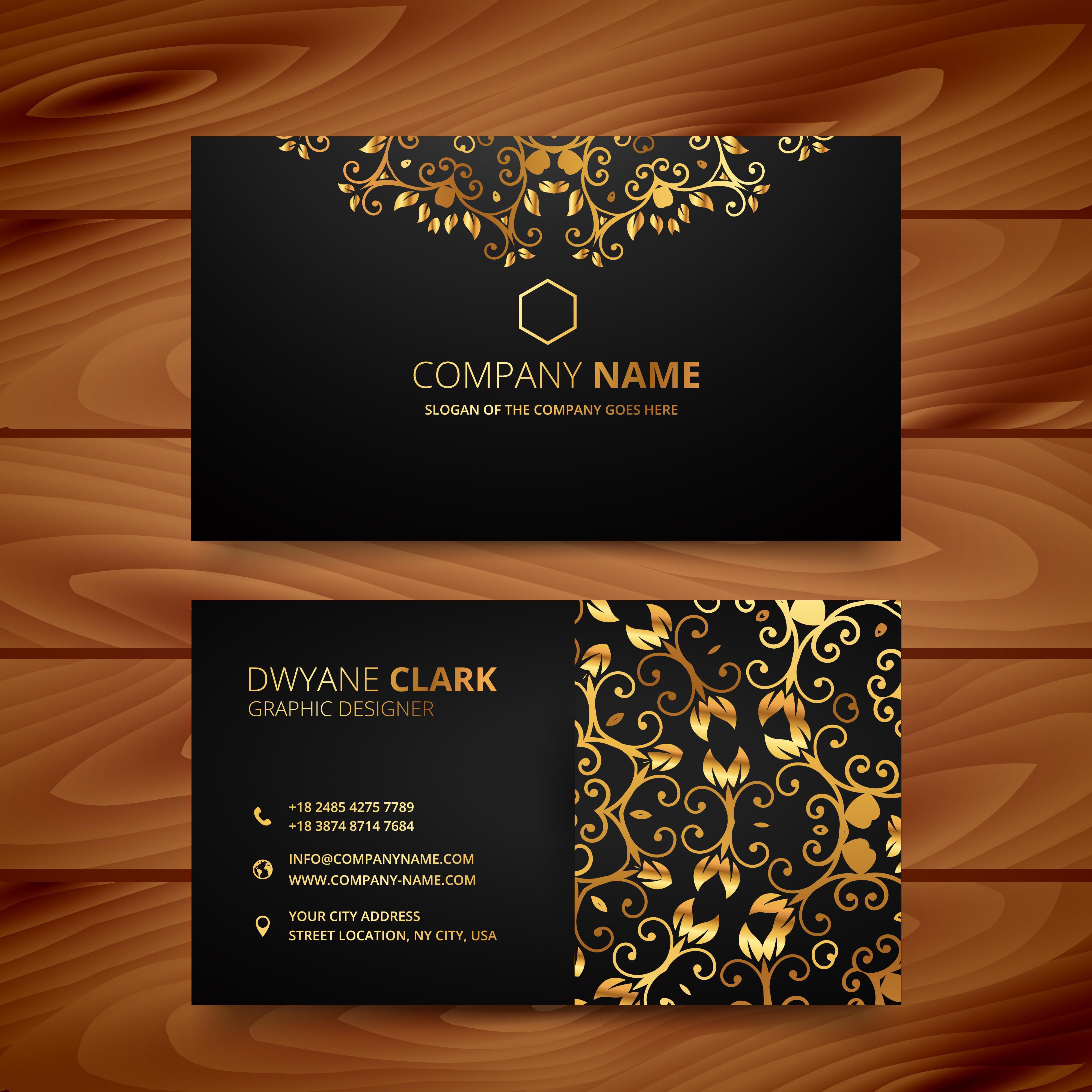 stylish golden premium luxury business card template design ...