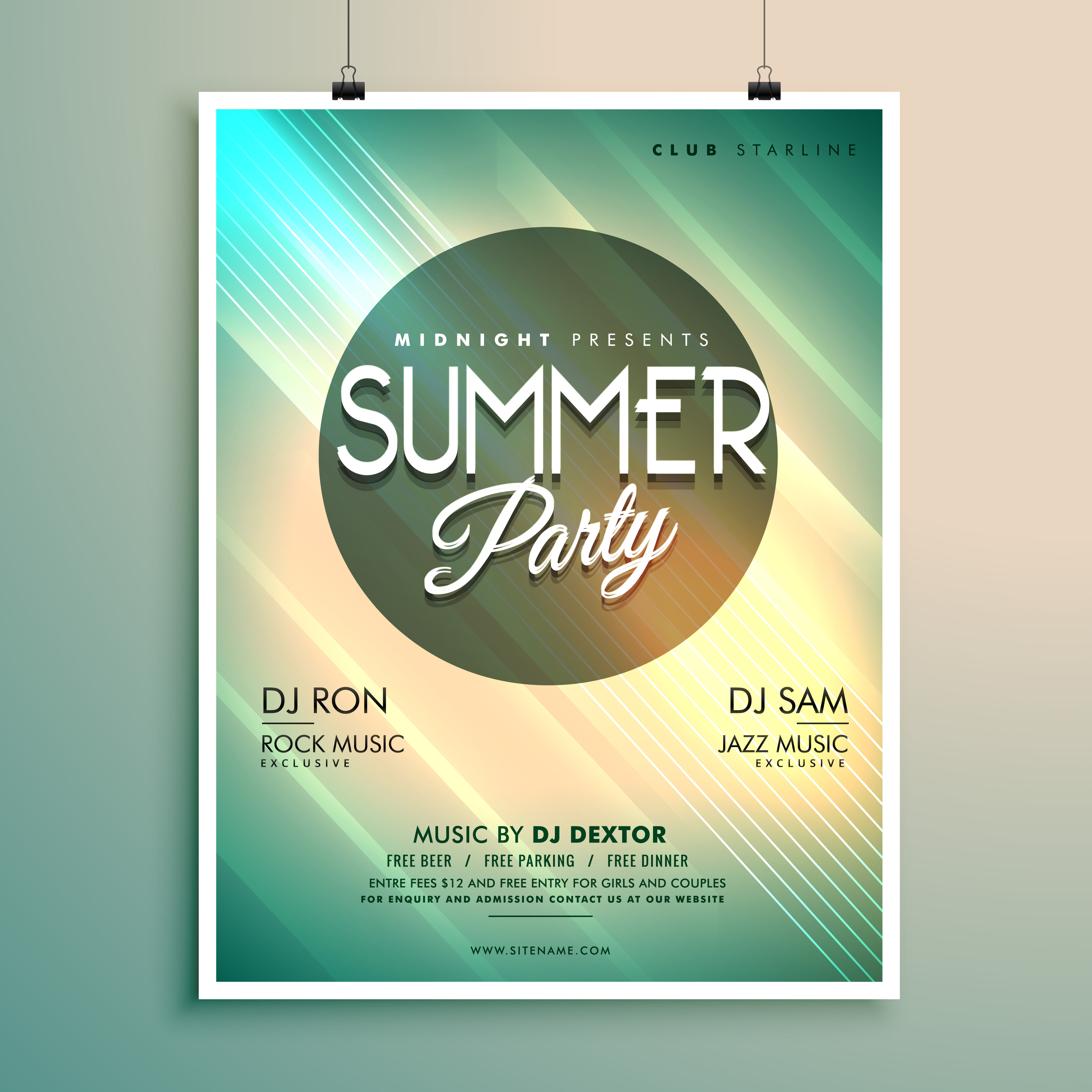 summer music party flyer template with event details - Kostenlose ...