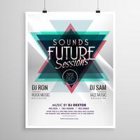 evenement flyer poster sjabloon met abstracte driehoek vormen