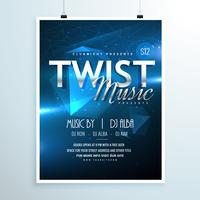 abstract music party flyer template invitation in abstract blue