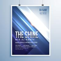beautiful shiny abstract music party flyer template with blue st
