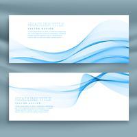 Plantillas de banners de onda abstracto azul