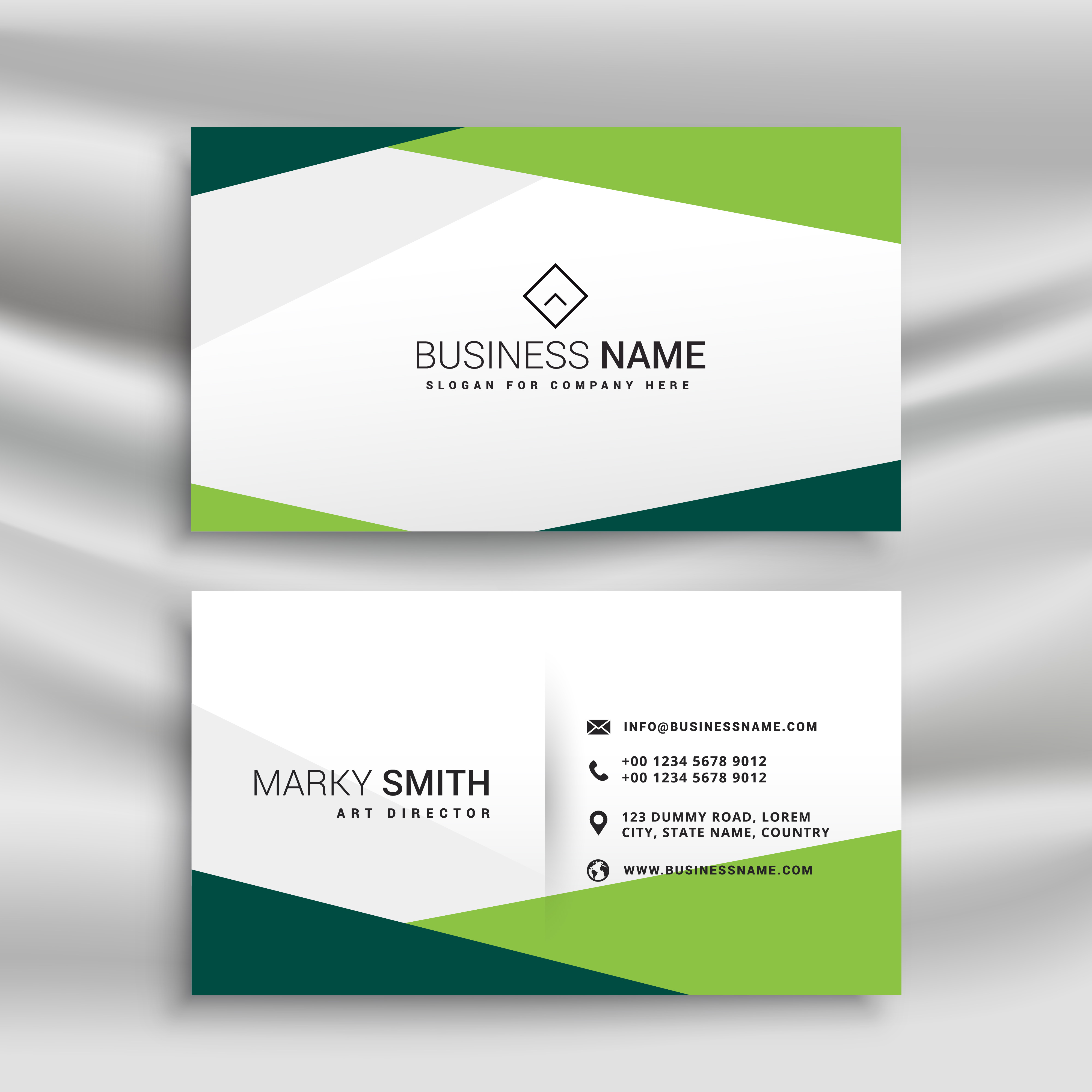 green and white business card with abstract geometric shapes ...