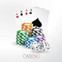 casino spelkort och chips med tärning vektor bakgrund