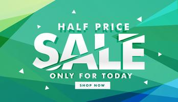 banner de desconto de venda de metade do preço para marketing