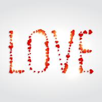 kärlek skrivet med hjärtan vektor design illustration