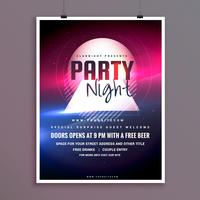 eleganter Partynachtmusikflieger-Schablonendesign mit Lichteffekt