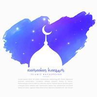 silhouette de la mosquée en coup de peinture bleu
