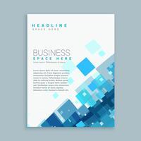 Plantilla de folleto de negocio limpio con formas de mosaico azul
