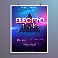 carta di invito di club music party flyer con effetto luci brillanti