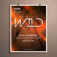 wild party flyer flyer template in abstract background with oran