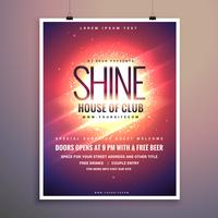 Shine Club Music Party Flyer mall med glödande bakgrund