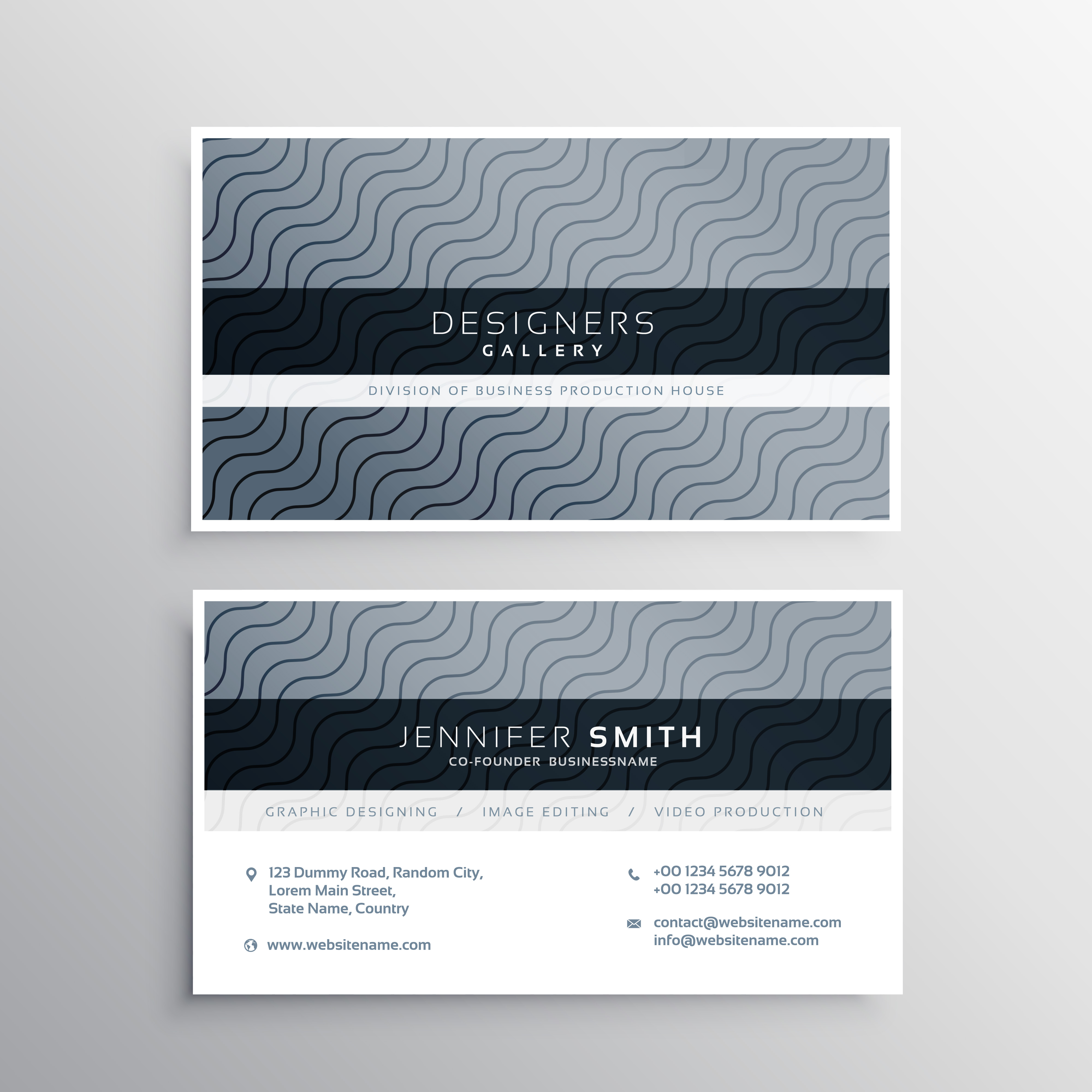 clean business card template with wavy lines - Download Free ...