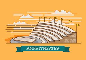 Amphitheater Ruin an Ancient Architecture History City Vector Illustration in 3D looks