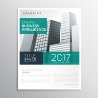 Diseño de plantilla de negocio empresa folleto con edificios en a4 s