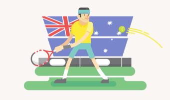 Vecteur de joueur de tennis australien