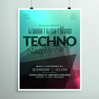 techno music party flyer brochure template in modern abstract st