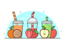 Smoothie + Ingredienser Bakgrunds illustrationer