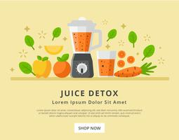 Detox Juice in Landing Page Design Vector