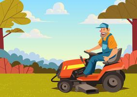 Man Riding Lawn Mower vector
